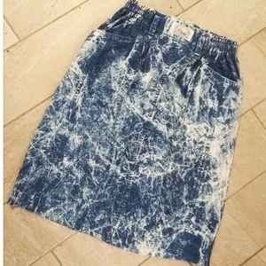 Vintage tie dye denim skirt